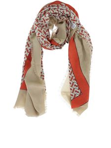 Burberry - Monogram print cashmere scarf in beige