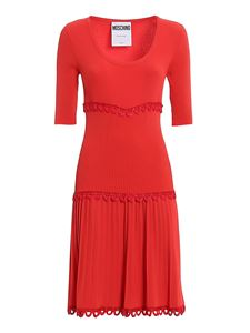 Moschino - Embroidered detail dress in red
