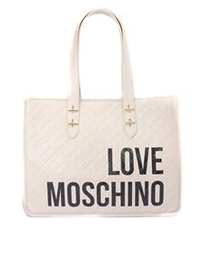 Love Moschino - Quilted tote with logo print in cream color