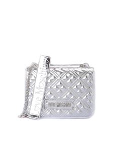 Love Moschino - Logo quilted shoulder bag in silver
