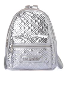 Love Moschino - Quilted faux leather backpack in silver color