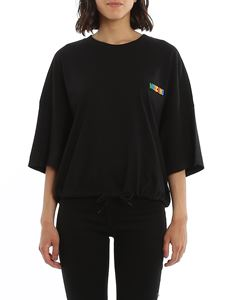 Moschino - Multicolour logo T-shirt with drawstring in black