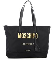 Moschino - Gold-tone logo tote bag in black