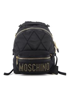 Moschino - Studded gold-tone logo backpack in black