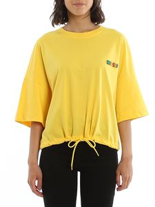 Moschino - Multicolour logo T-shirt with drawstring in yellow