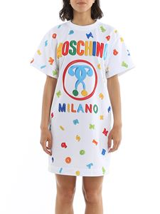 Moschino - T-shirt style logo dress in white