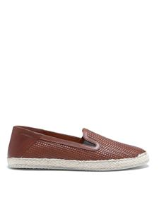Moreschi - Woven leather slip-on in brown