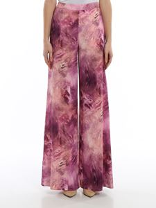 Moschino - Printed cady palazzo trousers in pink