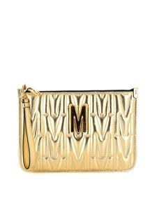 Moschino - M quilted clutch in gold