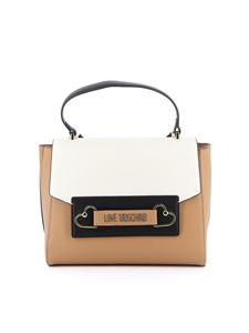 Love Moschino - Logo clamp and hearts bag in camel color