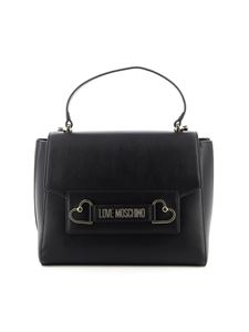 Love Moschino - Logo clamp and hearts bag in black
