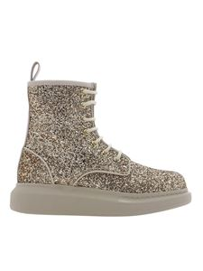 Alexander McQueen - Hybrid glitter ankle boots in gold color