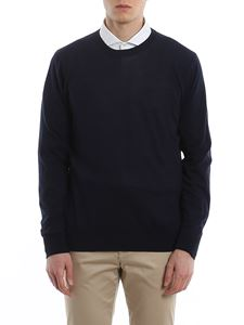 Ballantyne - Worsted cotton crew neck sweater in blue
