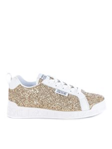 Versace Jeans Couture - Glittered fabric sneakers in gold