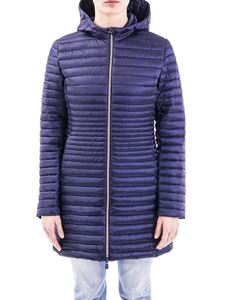 Save the duck - Shiny nylon hooded padded coat in blue