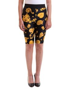 Versace Jeans Couture - Patterned tight short pants in black and yellow