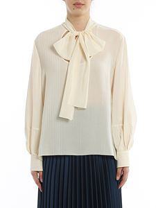 Chloé - Pinstriped silk blouse with scarf