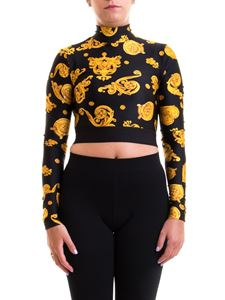 Versace Jeans Couture - Patterned long sleeve cropped t-shirt