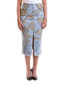 Versace Jeans Couture - Patterned denim pencil skirt