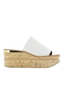 Chloé - Camille leather wedges in white