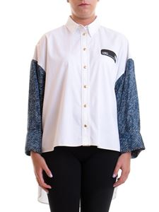 Versace Jeans Couture - Denim sleeve shirt in white
