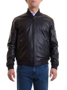 Corneliani - Reversible leather jacket in black
