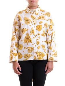 Versace Jeans Couture - Patterned asymmetric shirt in white and yellow