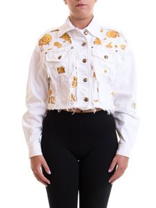 Versace Jeans Couture - Patterned denim cropped jacket in white
