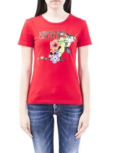 Versace Jeans Couture - Floral logo print jersey t-shirt in red
