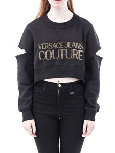 Versace Jeans Couture - Rhinestone logo cropped sweatshirt in black