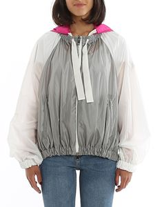 Moncler - Fuchsia hooded windbreaker in grey