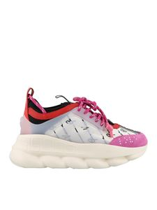 Versace - Sneakers Chain Reaction bianche e rosa