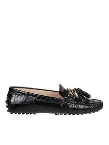 Tod's - Gommino croco print loafers in black