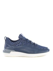 Tod's - Leather and nylon sneakers in blue