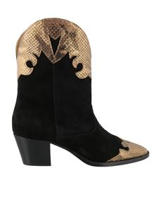 Paris Texas - Reptile print ankle boots in black