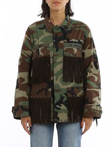 Parosh - Suede fringes military jacket