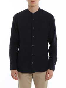 Z Zegna - Mandarin collar shirt in blue