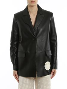 Off-White - Meteor cut-out leather blazer in black