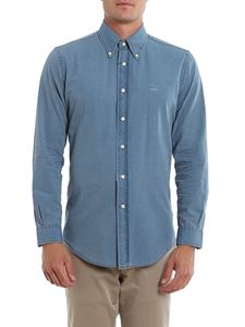 Brooks Brothers - Logo embroidery cotton shirt in blue