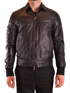 Neil Barrett - Zipped leather jacket in black