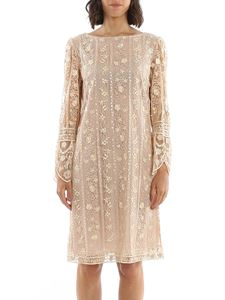be Blumarine - Sequined embroidery tulle dress in beige