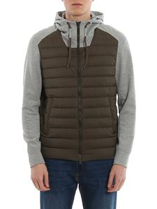Herno - Jersey sleeves down jacket in green and grey