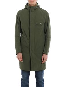 Herno - Asymmetrical zip fastening coat in green