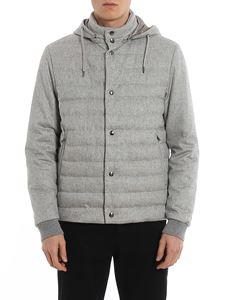 Herno - Cashmere and silk hoodie down jacket in grey