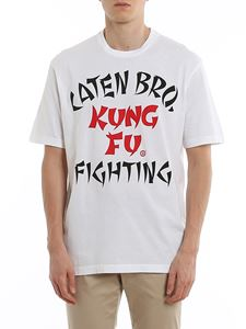 Dsquared2 - T-shirt in cotone con stampa Kung Fu bianca