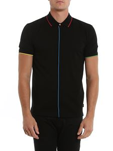 Paul Smith - Multicolor striped details polo shirt in black