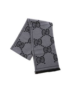 Gucci - GG jacquard scarf in grey and black