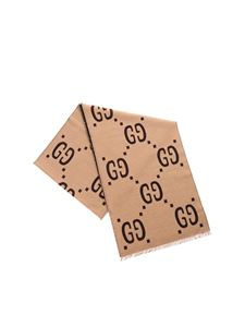 Gucci - Scarf in beige featuring GG jacquard pattern