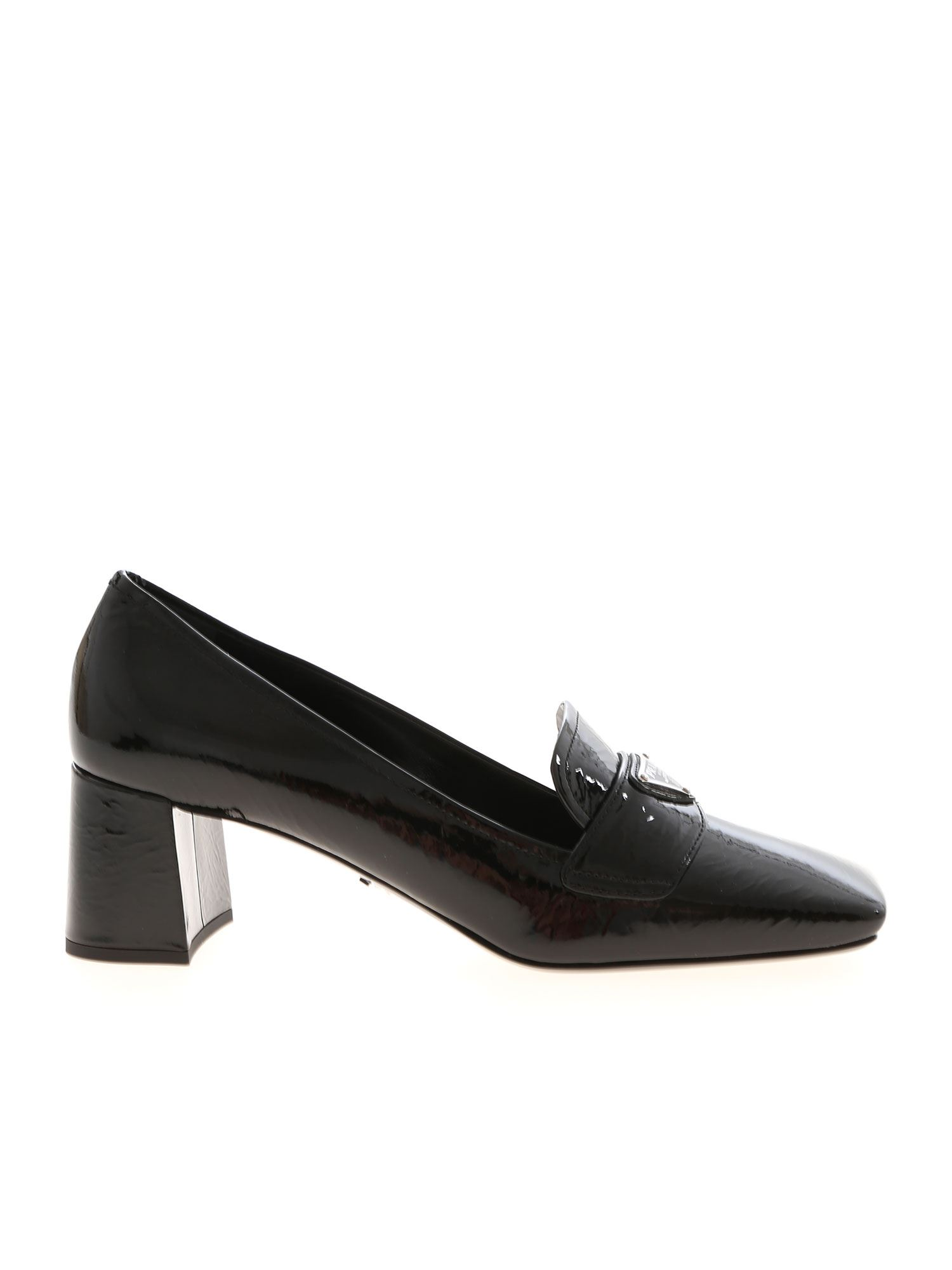 Prada SHINY PUMPS IN BLACK FEATURING LOGO