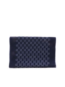 Gucci - Jacquard scarf in blue featuring GG pattern